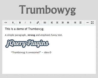 Trumbowyg – Lightweight WYSIWYG Editor