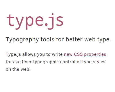 Type.js – Typographic Tools for Better Web Type