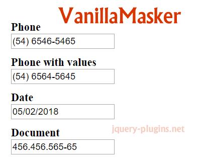 VanillaMasker – Pure Javascript Input Masker