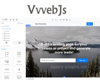 VvvebJs – Drag & Drop Website Builder with jQuery and Bootstrap